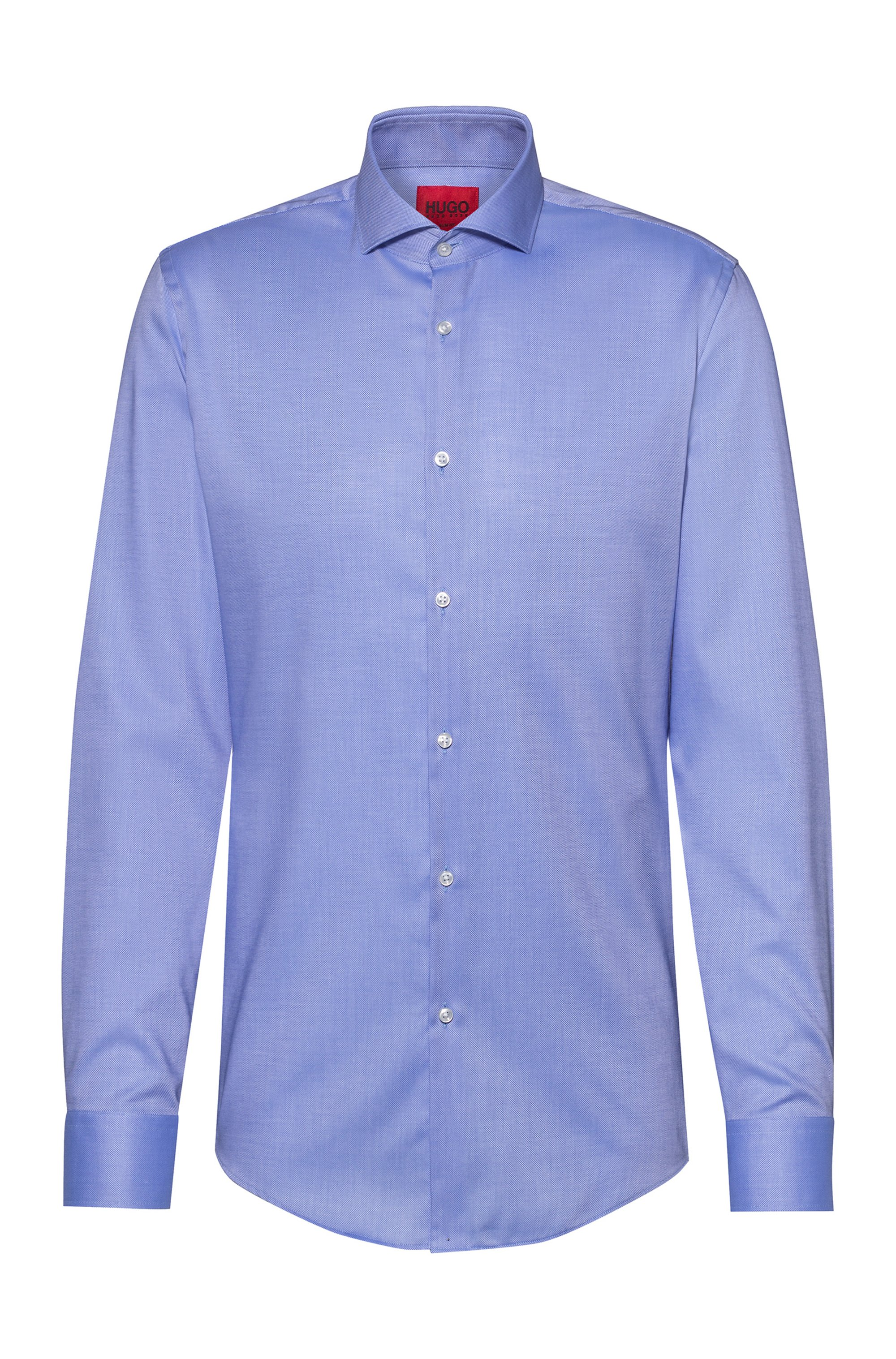 Slim-fit shirt in easy-iron Oxford cotton, Light Blue