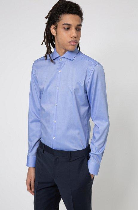 Slim-Fit Hemd aus bügelleichter Oxford-Baumwolle, Hellblau
