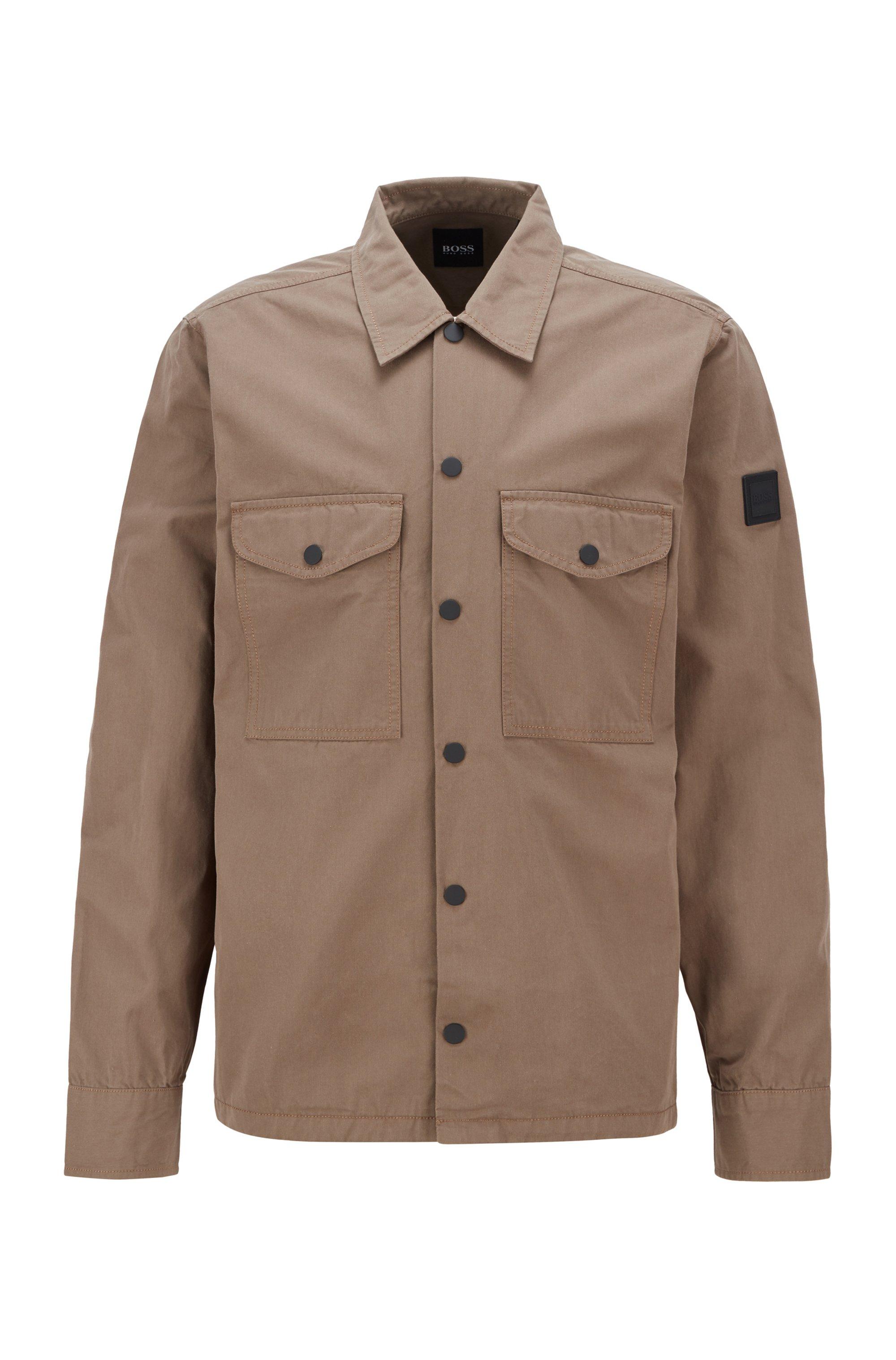 Overshirt aus schwerer Baumwolle mit Logo-Aufnäher aus Gummi, Beige