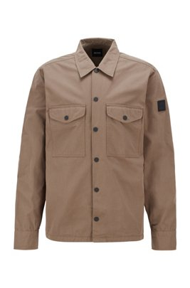 Heavyweight-cotton overshirt with rubber logo patch, Beige