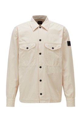 Surchemise en coton épais avec patch logo en gomme, Beige clair