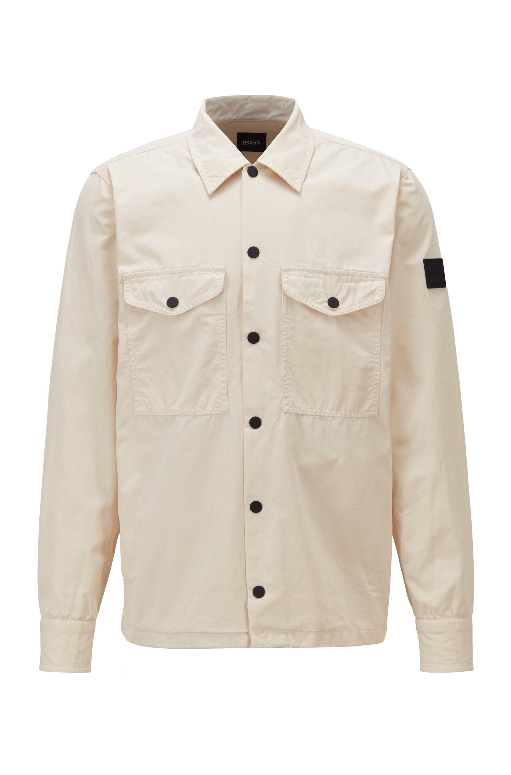 Heavyweight-cotton overshirt with rubber logo patch, Light Beige