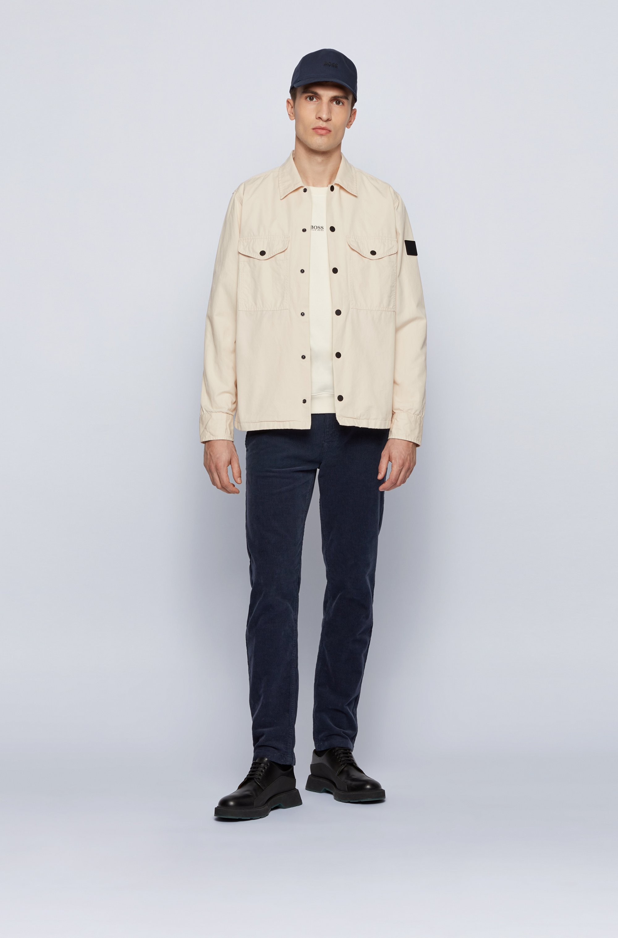 Heavyweight-cotton overshirt with rubber logo patch