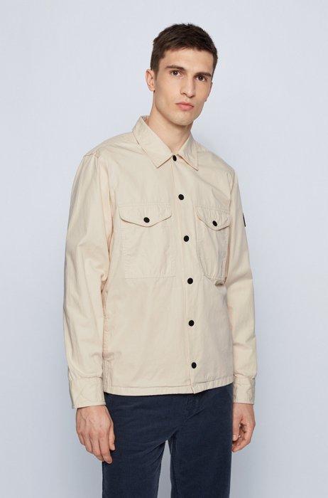 Overshirt aus schwerer Baumwolle mit Logo-Aufnäher aus Gummi, Hellbeige