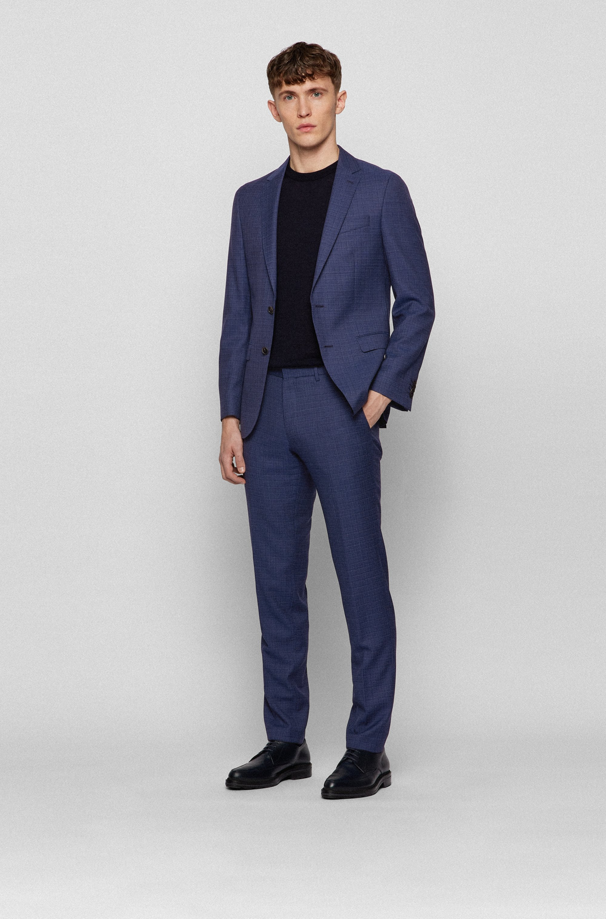Micro-patterned slim-fit jacket in virgin wool