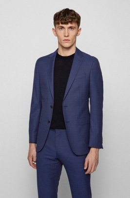 Micro-patterned slim-fit jacket in virgin wool, Blue Patterned