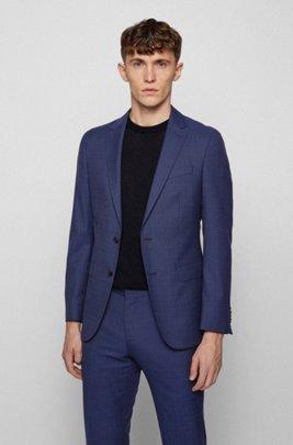 Micro-patterned slim-fit jacket in virgin wool, Blue Patterned