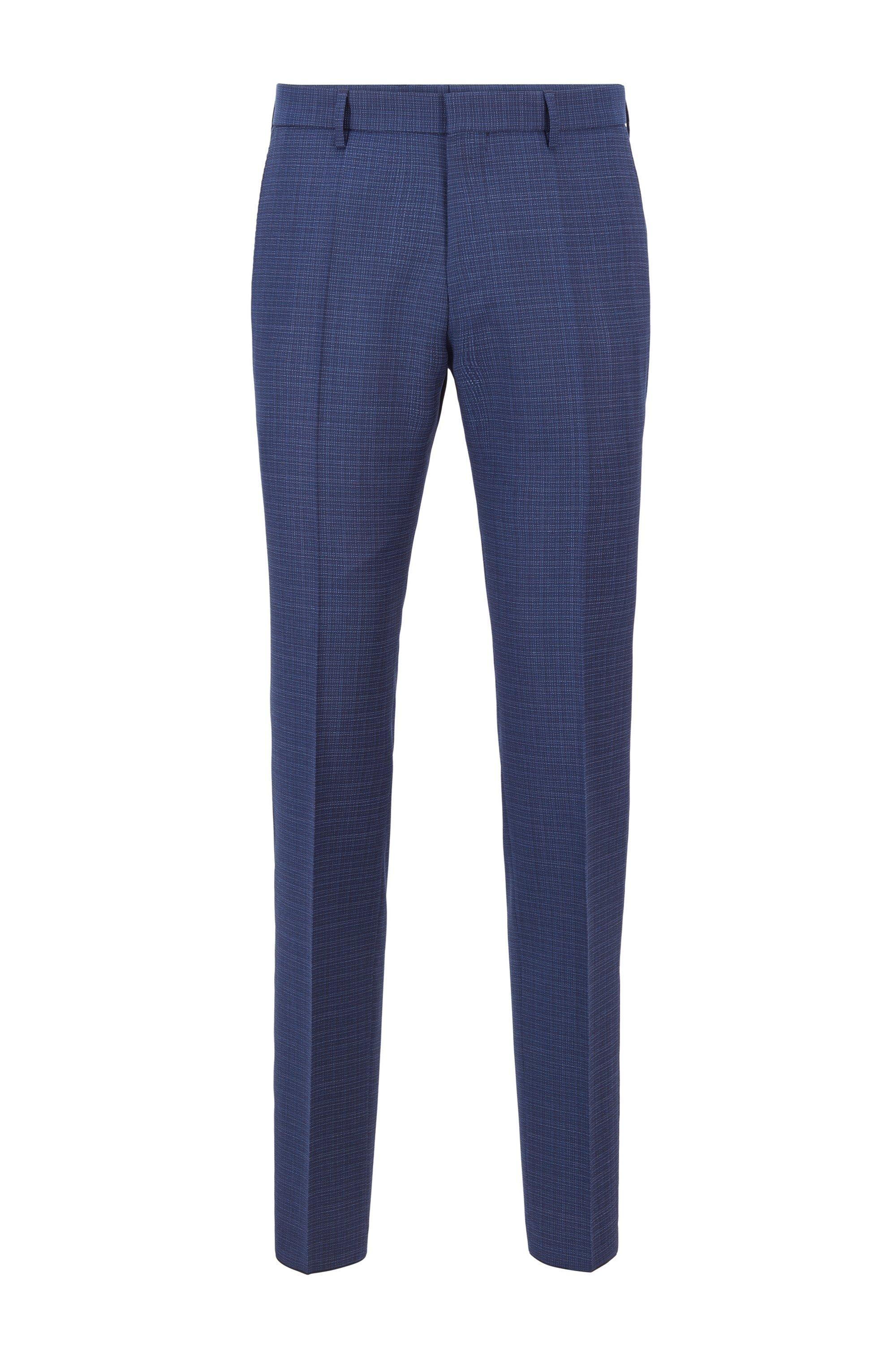 Slim-fit trousers in micro-patterned virgin wool, Blue Patterned