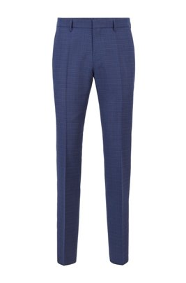Slim-fit trousers in micro-patterned virgin wool, Blue Patterned