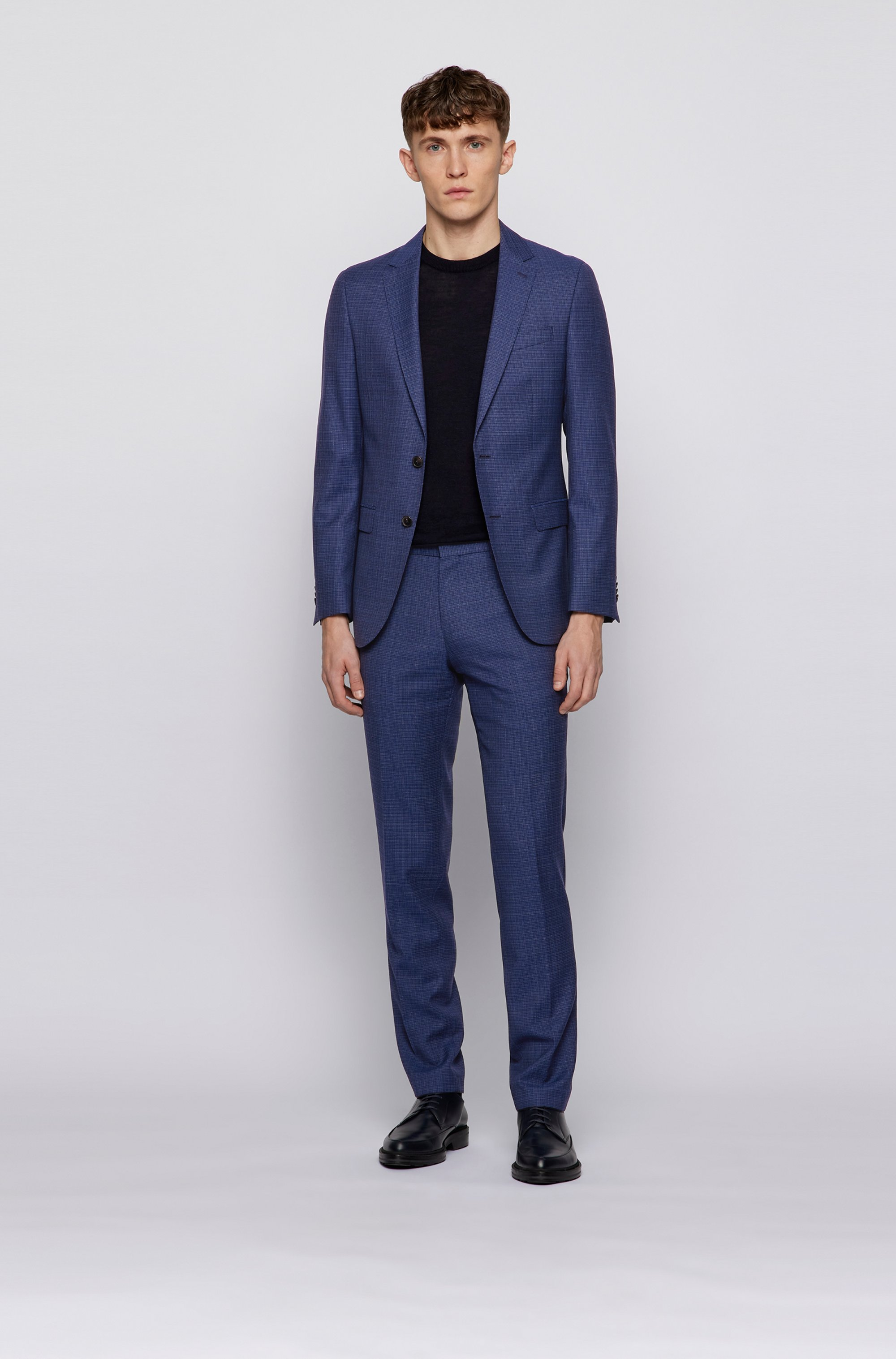 Slim-fit trousers in micro-patterned virgin wool