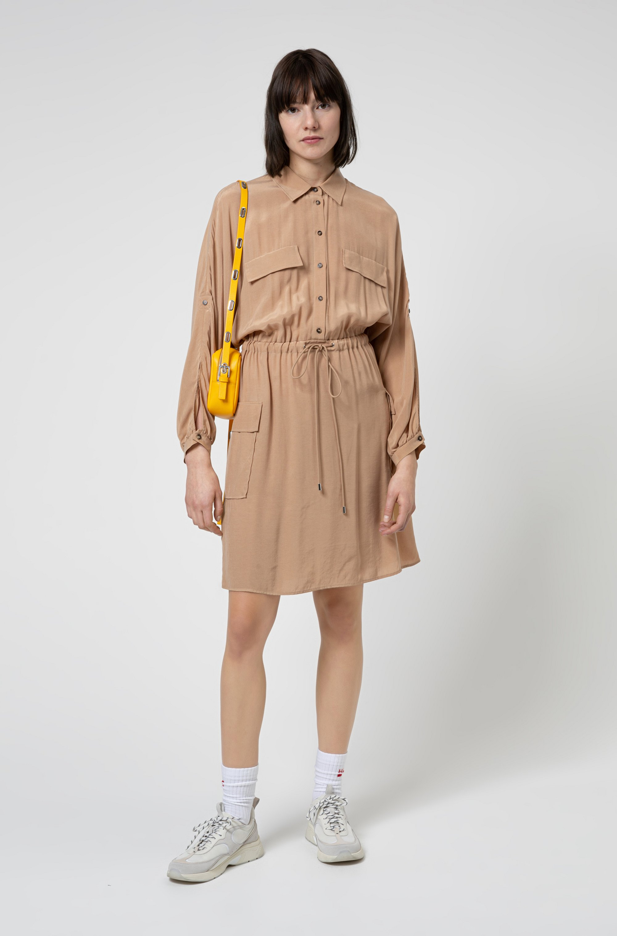 Long-sleeved utility dress with drawstring waist