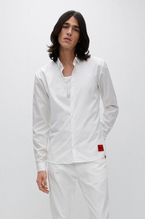 Extra-slim-fit cotton shirt with red logo label, White