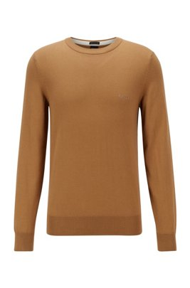 Crew-neck sweater in Italian cotton with logo embroidery, Beige