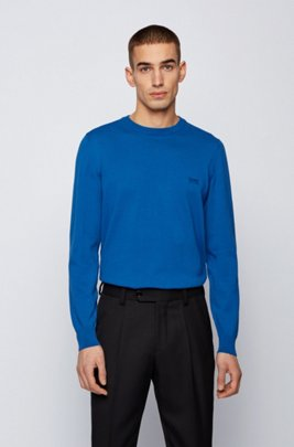 Crew-neck sweater in Italian cotton with logo embroidery, Blue