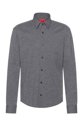 High-performance slim-fit shirt in stretch fabric, Dark Grey