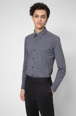 Slim-fit overhemd van high-performance stretchmateriaal, Donkergrijs