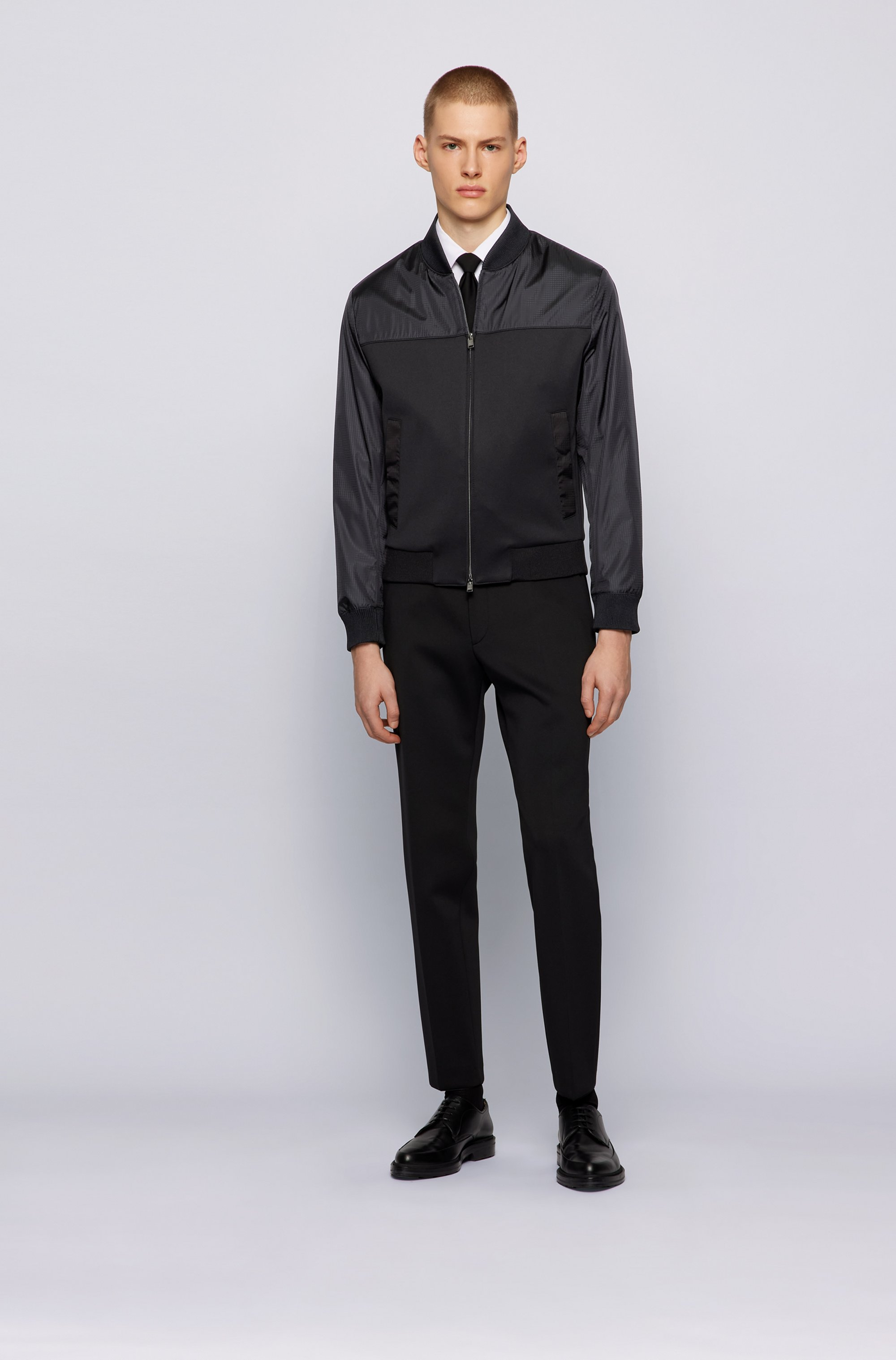 Blouson-style slim-fit jacket in stretch fabric