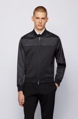 Blouson-style slim-fit jacket in stretch fabric, Black