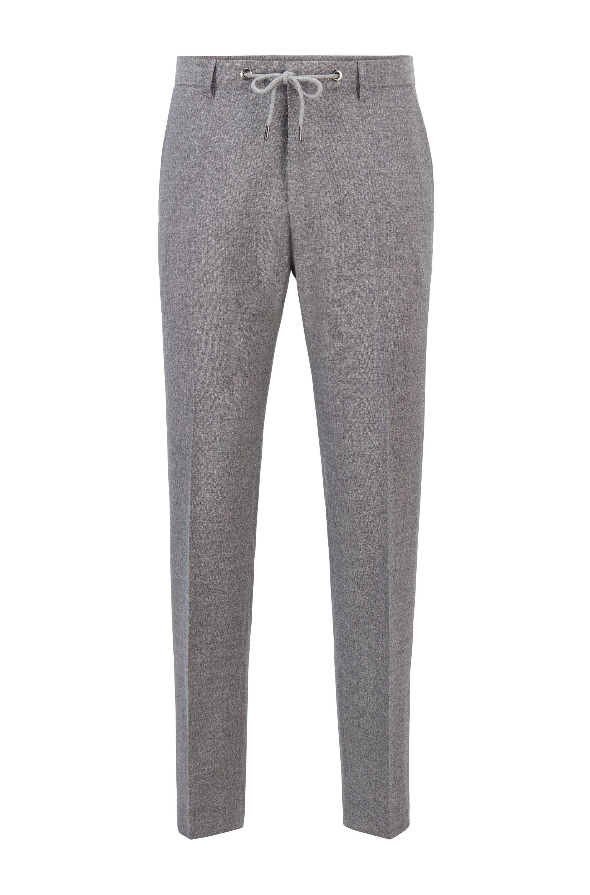Pantalones slim fit de talle alto en lana virgen, Gris
