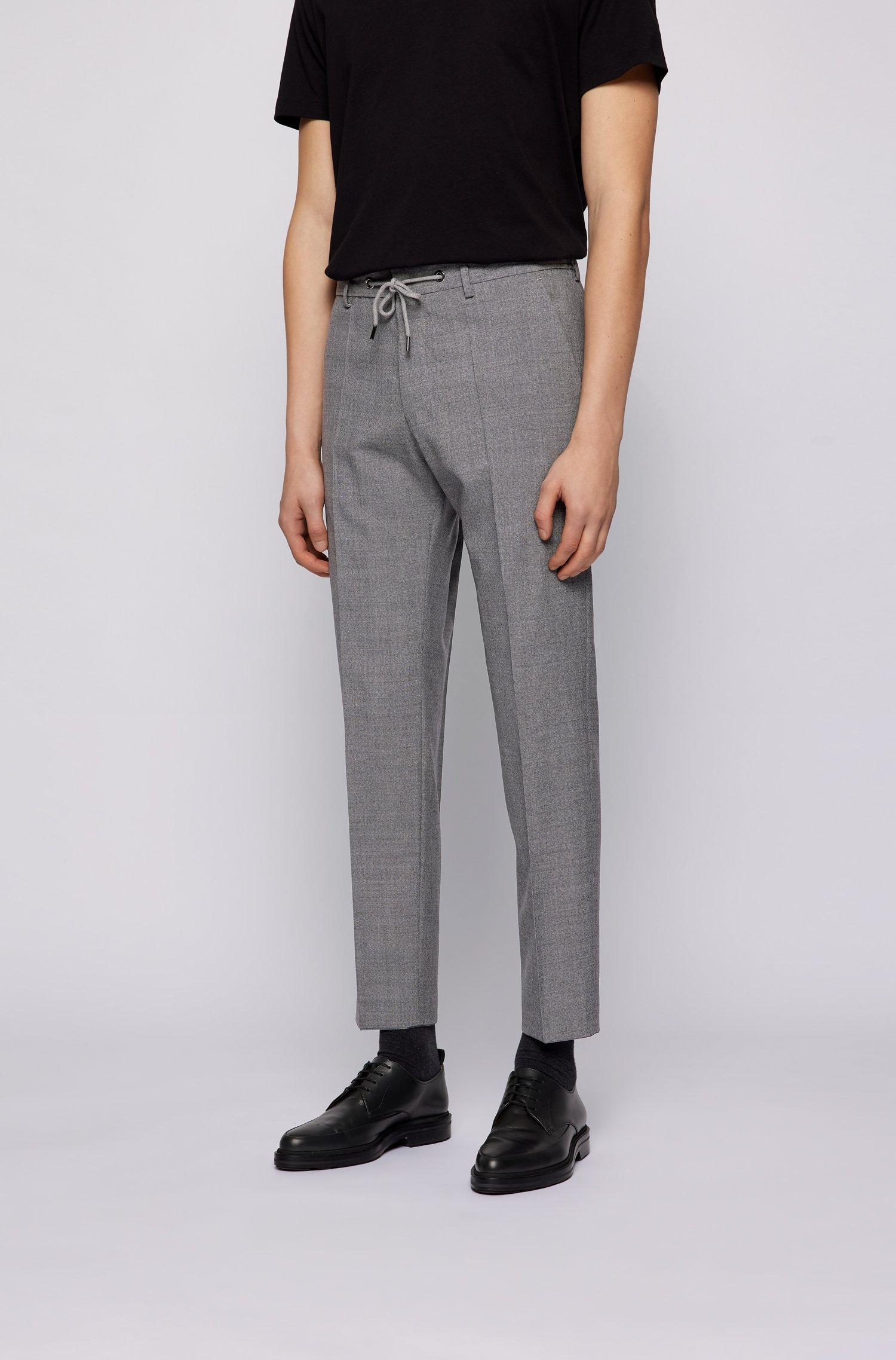 High-waisted slim-fit trousers in virgin wool, Grey