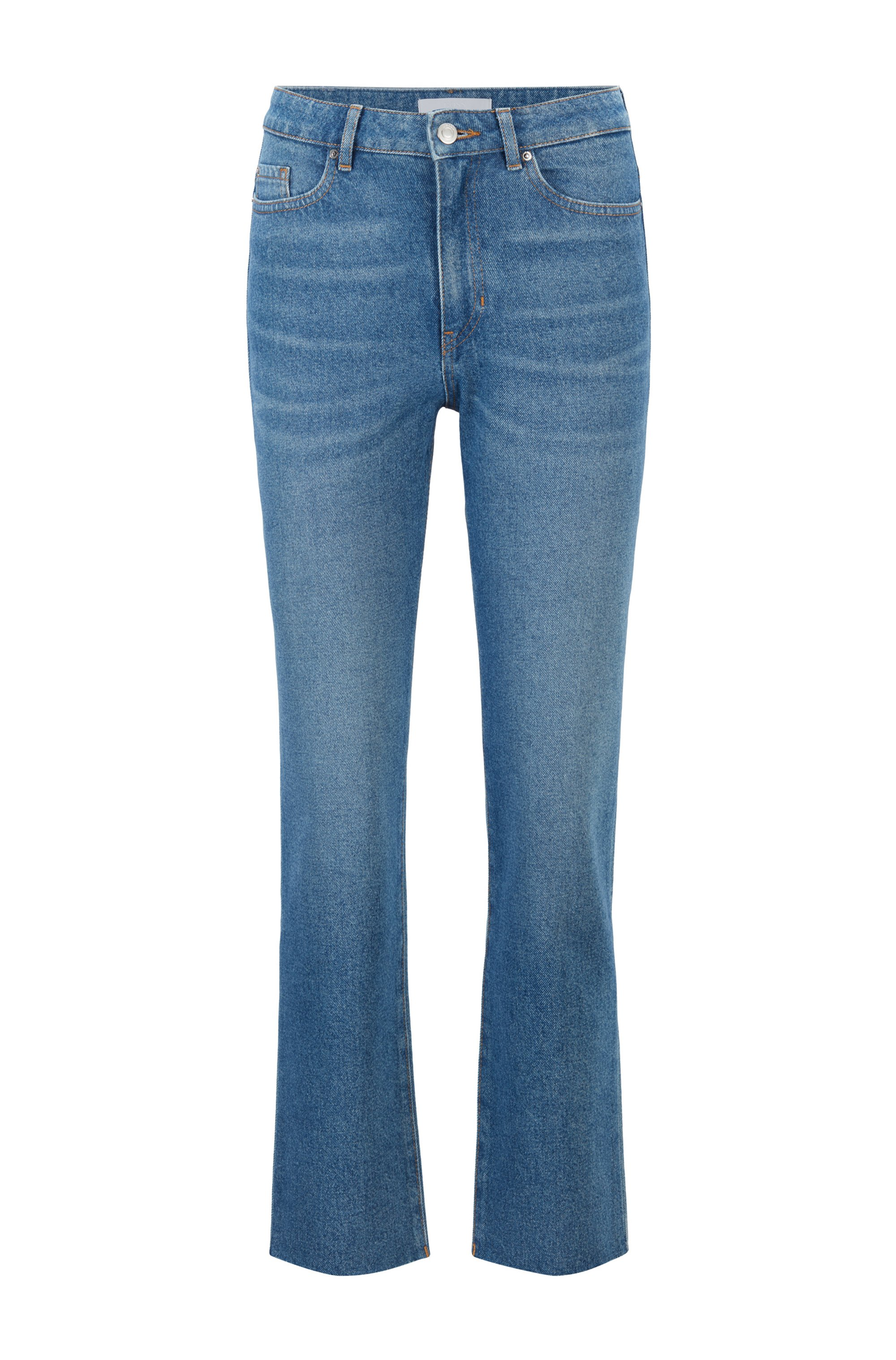 Regular-Fit Jeans aus zweifarbigem, blauem Denim in Cropped-Länge, Blau