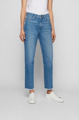 Cropped regular-fit jeans in two-tone blue denim, Blue