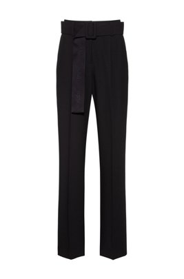 High-waisted wide-leg trousers with logo-jacquard belt, Black