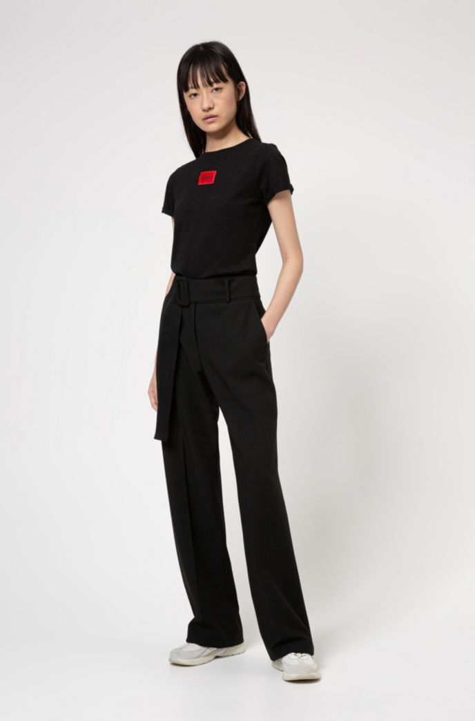 High-waisted wide-leg trousers with logo-jacquard belt