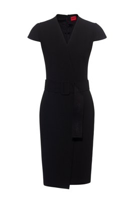 Faux-wrap dress with cap sleeves and oversized belt, Black