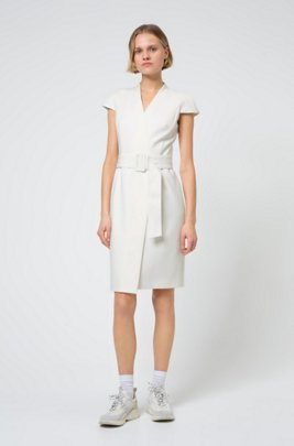 Faux-wrap dress with cap sleeves and oversized belt, White