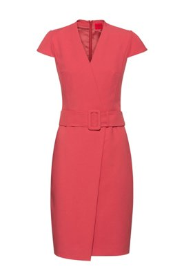 Faux-wrap dress with cap sleeves and oversized belt, Red