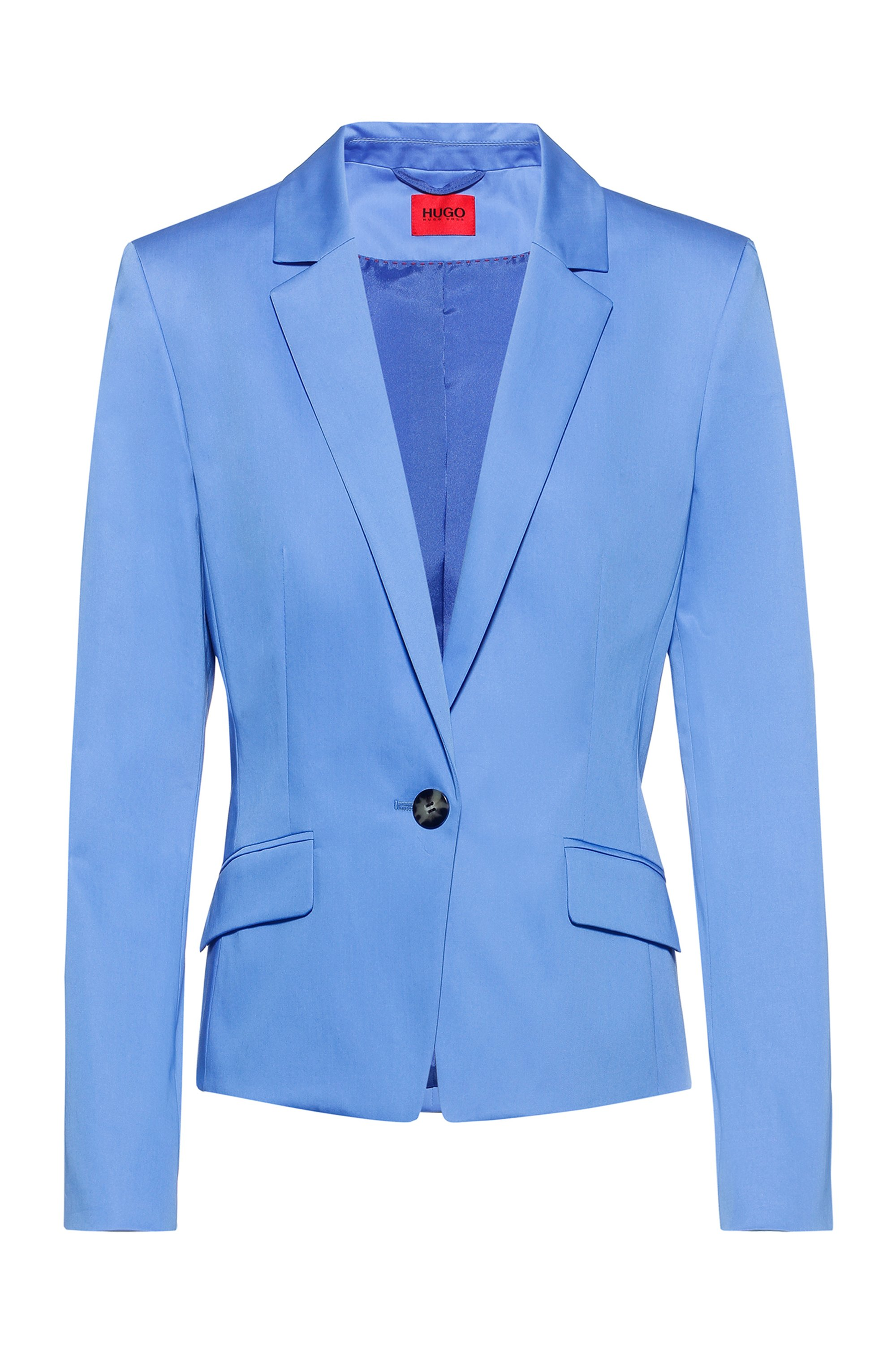 Regular-fit single-breasted jacket in stretch cotton, Light Blue