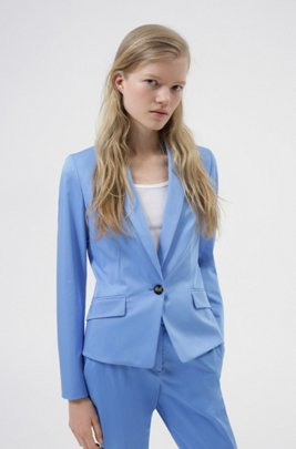 Einreihiger Regular-Fit Blazer aus Stretch-Baumwolle, Hellblau