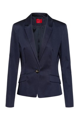 Regular-fit single-breasted jacket in stretch cotton, Dark Blue