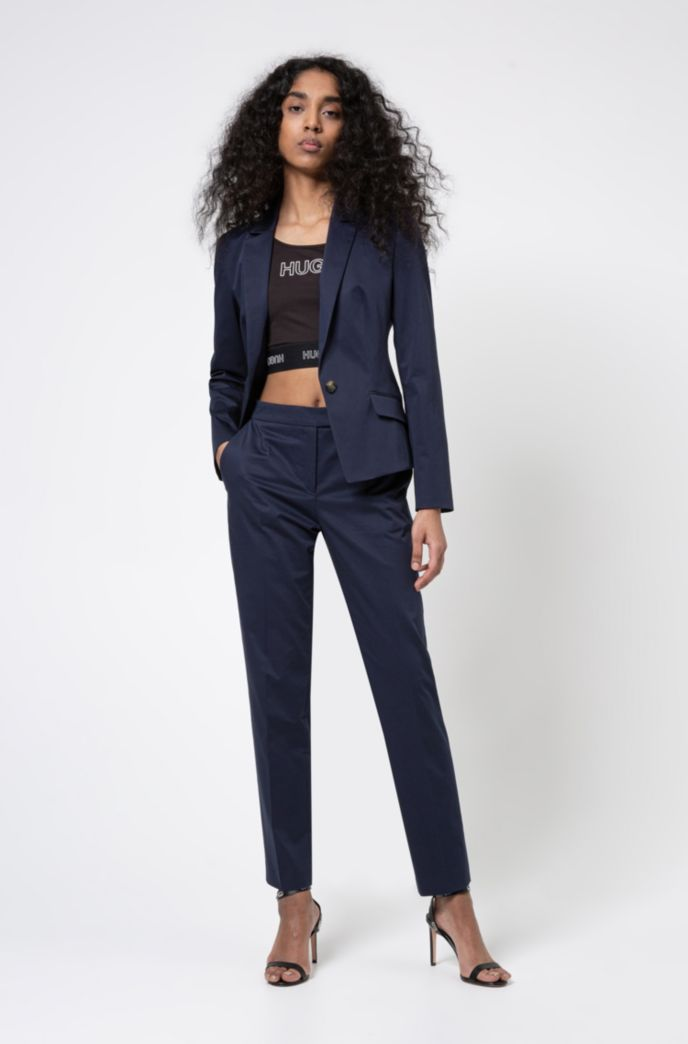 Regular-fit single-breasted jacket in stretch cotton