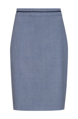 Micro-patterned pencil skirt in a stretch-cotton blend, Blue