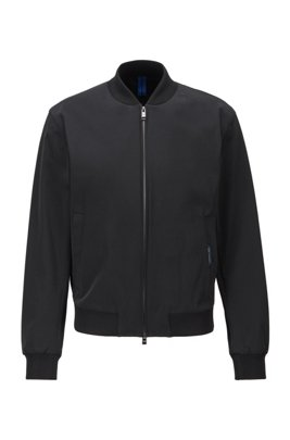 Slim-fit zip-through jacket in stretch fabric, Black