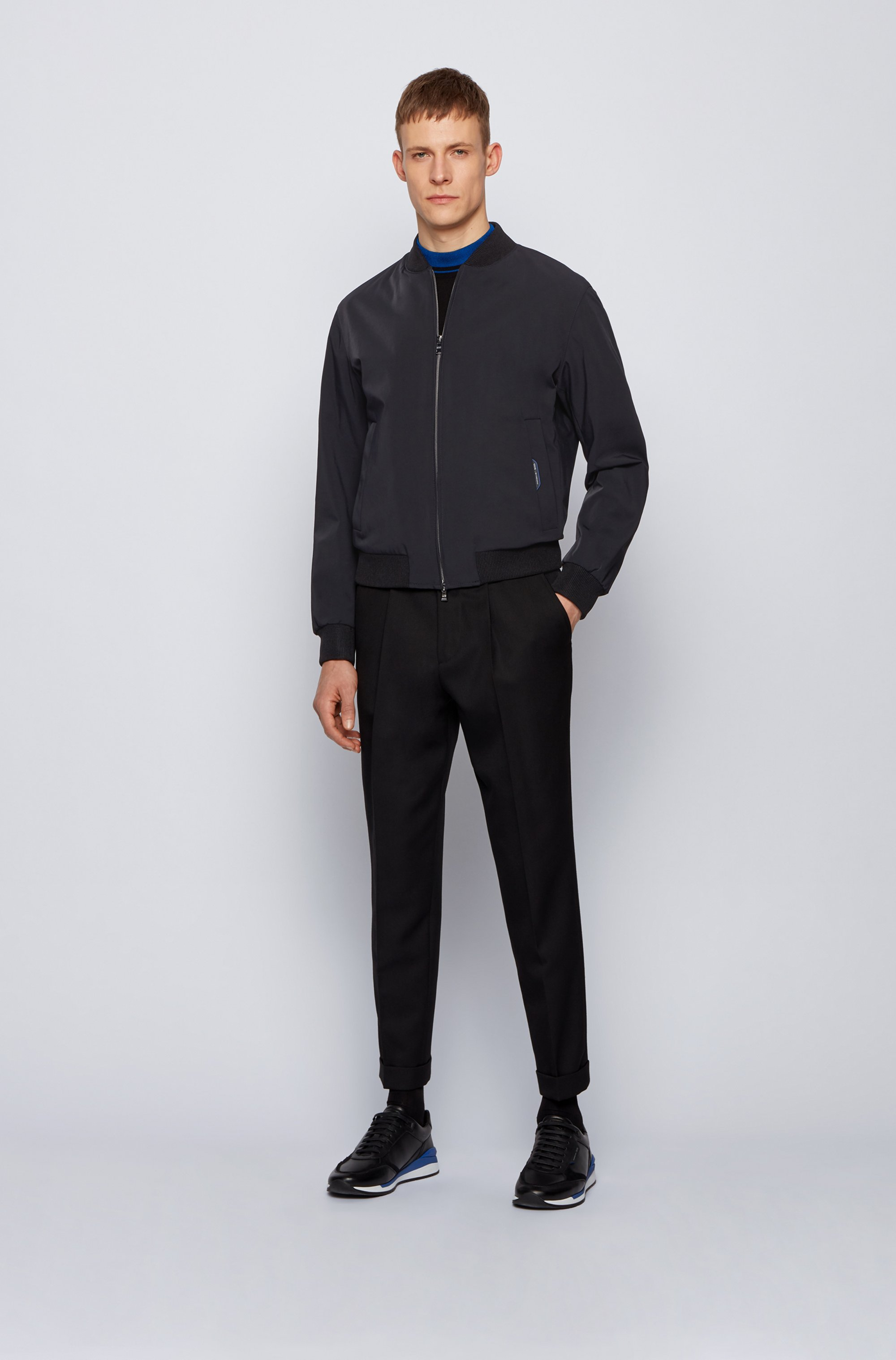 Slim-fit zip-through jacket in stretch fabric