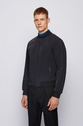 Slim-fit zip-through jacket in stretch fabric, Black