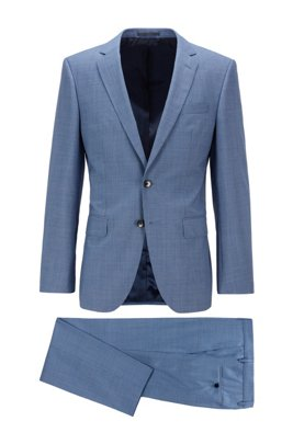 Micro-patterned slim-fit suit in tropical virgin wool, Light Blue