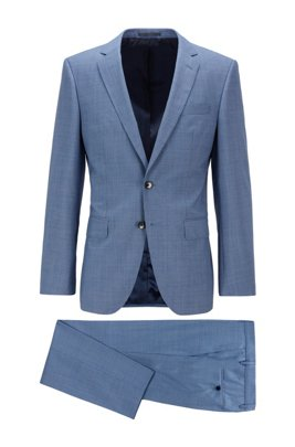 Slim-fit pak van tropische scheerwol met microdessin, Lichtblauw