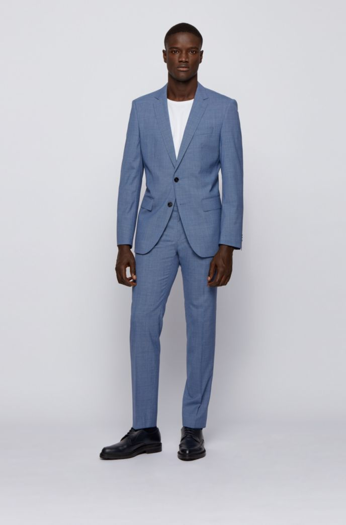 Micro-patterned slim-fit suit in tropical virgin wool