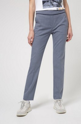 Cropped slim-fit trousers in patterned cotton-blend fabric, Blue