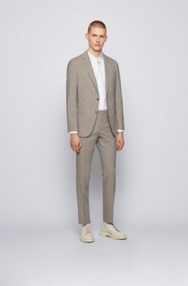 Micro-patterned slim-fit suit with soft construction, Beige
