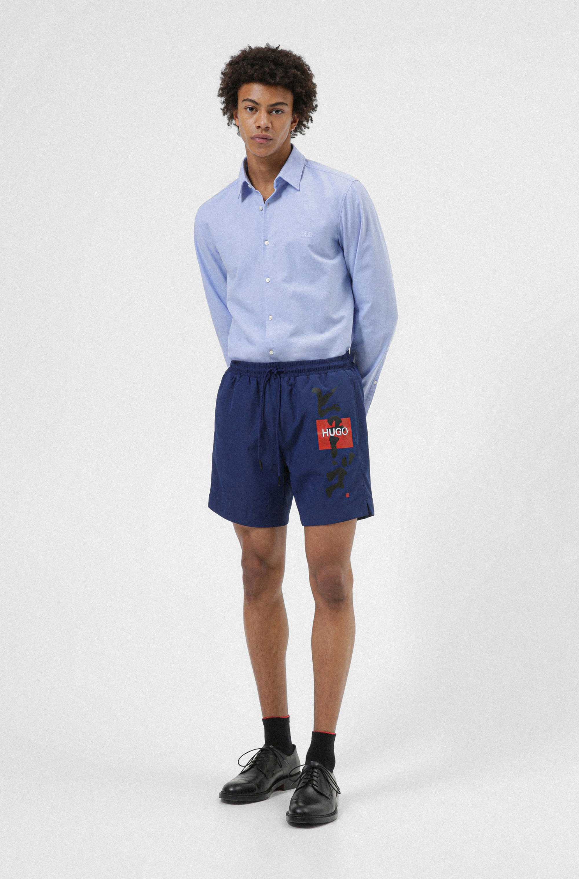 Slim-fit shirt in Oxford cotton with embroidered logo