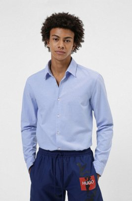 Slim-fit shirt in Oxford cotton with embroidered logo, Light Blue