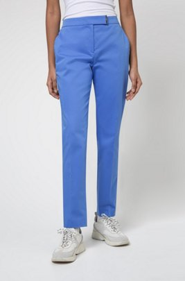 Stretch-cotton regular-fit trousers with hardware trim, Turquoise