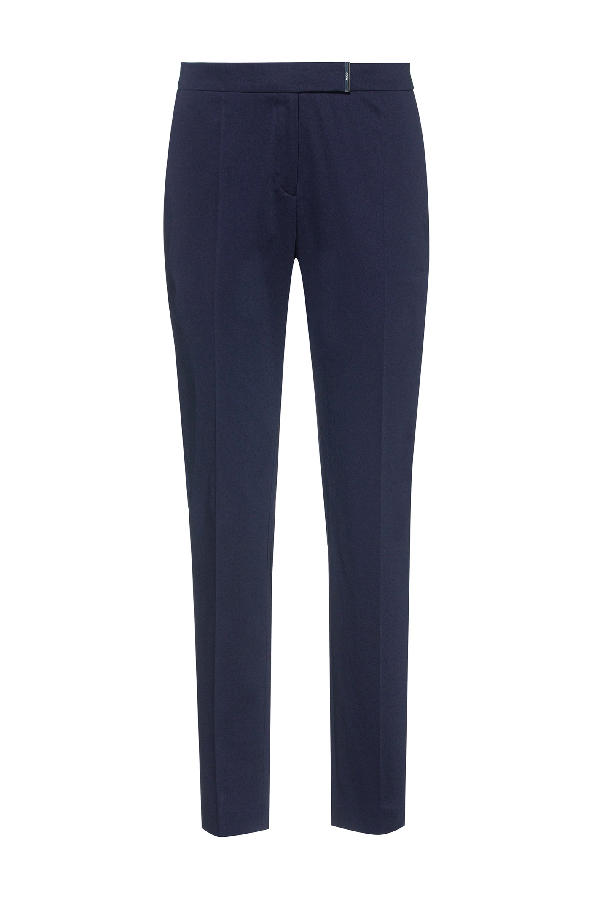Stretch-cotton regular-fit trousers with hardware trim, Dark Blue