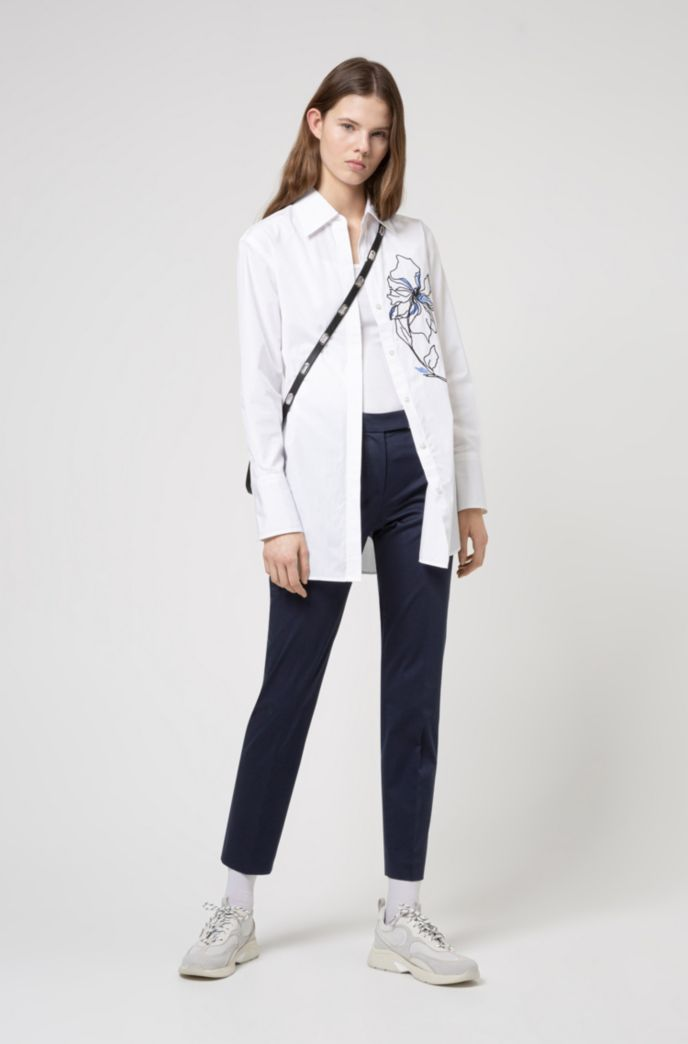 Stretch-cotton regular-fit trousers with hardware trim