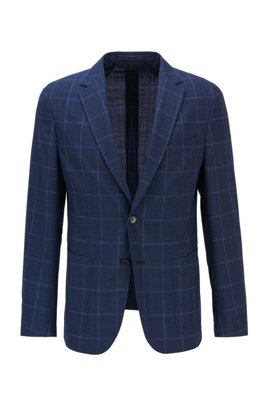 Plain-check slim-fit jacket in virgin wool, Dark Blue